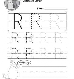 Uppercase Letter R Tracing Worksheet - Doozy Moo [ 1035 x 800 Pixel ]