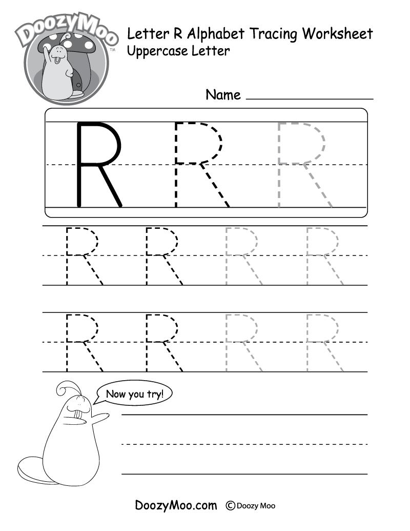 medium resolution of Uppercase Letter R Tracing Worksheet - Doozy Moo