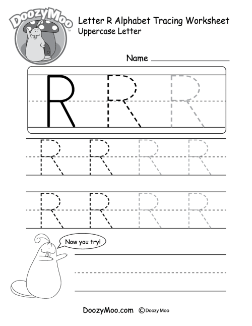small resolution of Uppercase Letter R Tracing Worksheet - Doozy Moo