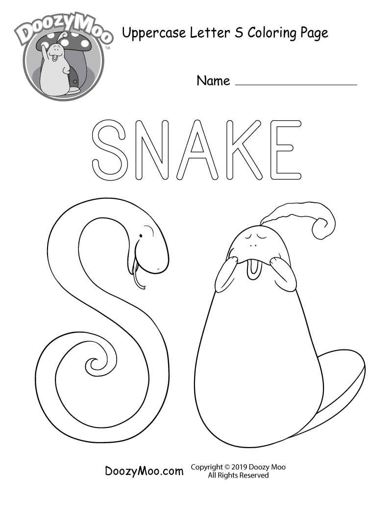 Cute Uppercase Letter S Coloring Page (Free Printable