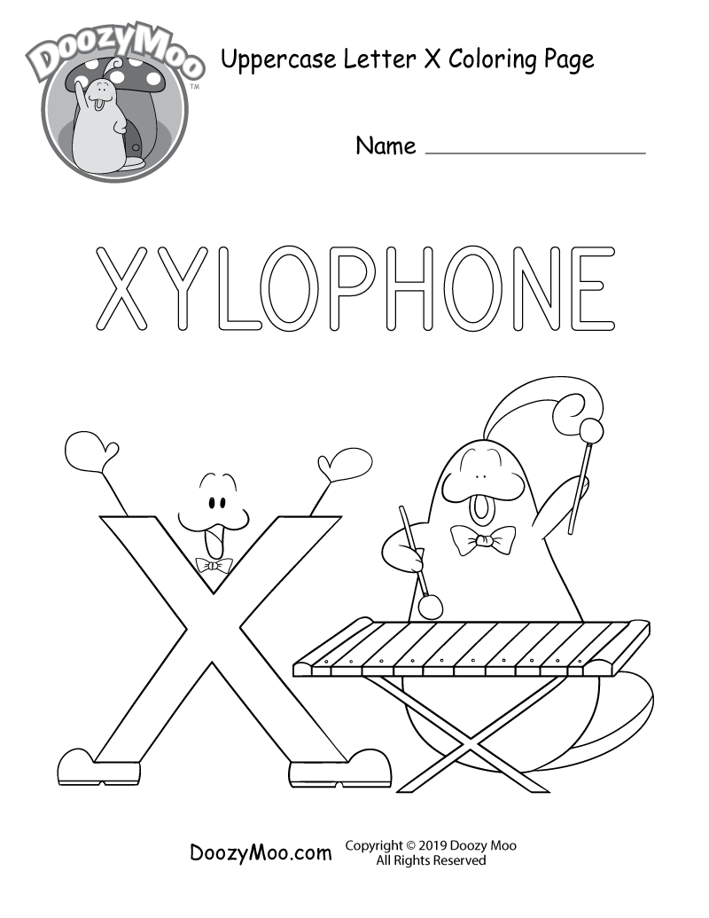 cute uppercase letter x coloring page (free printable