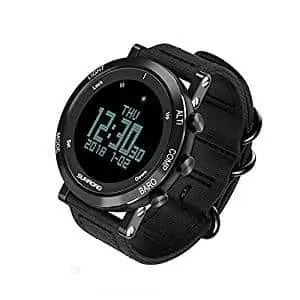SUNROAD Mens Smart Watch, Digital Sports Watch with LED Screen Large Face Altimeter Watch Waterproof Casual Luminous Stopwatch Alarm(Black)
