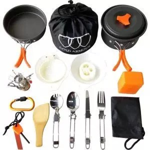 Gold Armour 17Pcs Camping Cookware Mess Accessory Kit Backpacking Gear & Hiking Outdoors