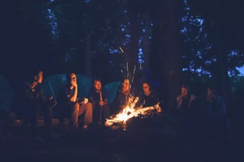 campfire with group