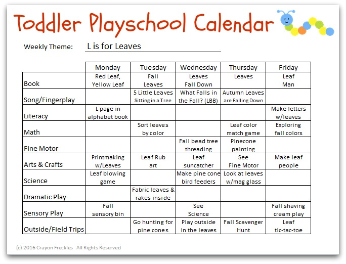 Toddler Playschool: L is for Leaves Lesson Plan {free