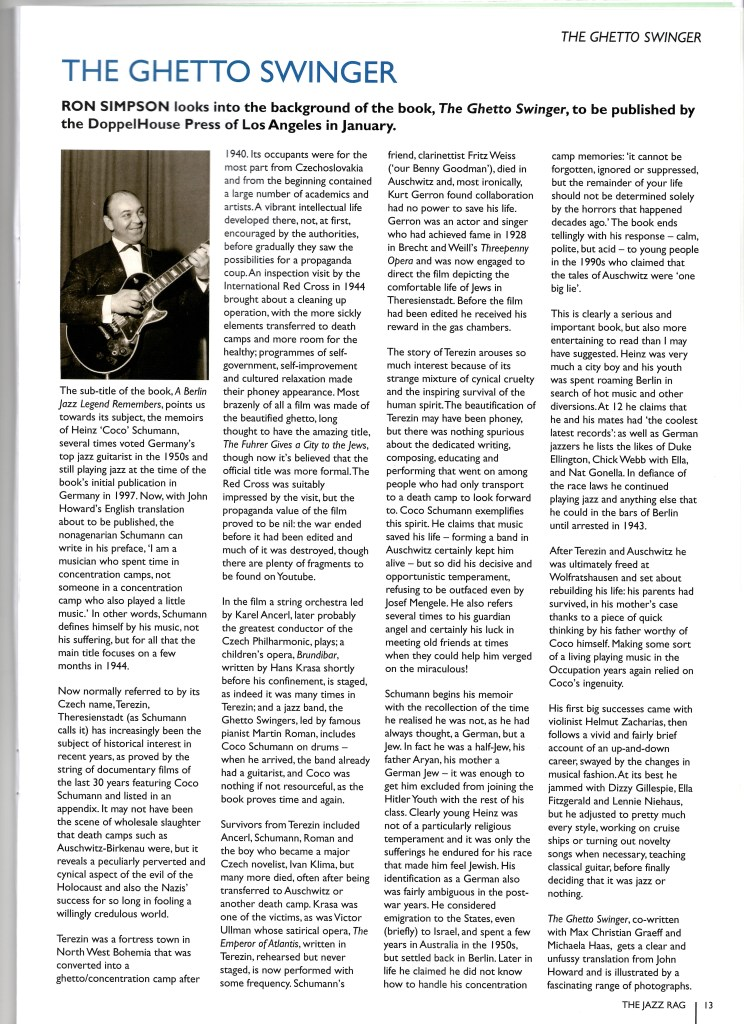 Schumann The Ghetto Swinger Feature in The Jazz Rag January 2016