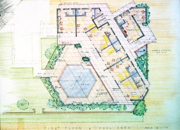 Pool rendering Boomerang on diamond grid submitted for graduation from Taliesin