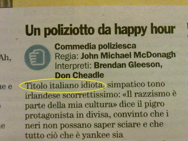 Un poliziotto da happy hour, recensione di Alessio Guzzano sul quotidiano City