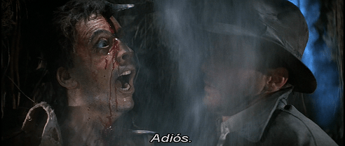 Indiana Jones dice Adios imbecille a Satipo ma i sottotitoli leggono soltanto Adios.