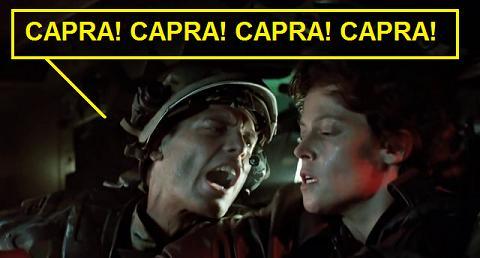 Hicks che urla a Ripley di rallentare, dal film Aliens 1986