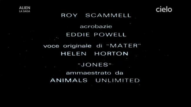 Titoli di coda di Alien da pellicola italiana