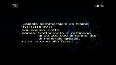 descrizione di apertura in italiano nel film Alien del 1979 dove viene presentata la nave Nostromo
