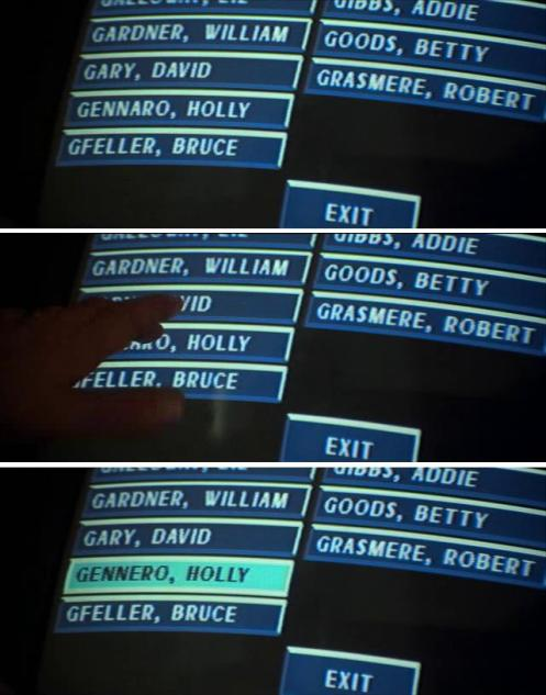 Scena dal film Die Hard in cui lo schermo inquadrato mostra un nome diverso, Gennaro diventa Gennero quando McClane preme il bottone