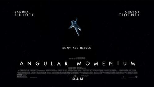 Finto poster del film Gravity intitolato: Momento angolare