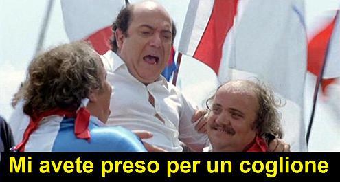 Vignetta dal film L'allenatore nel pallone dove Lino Banfi esclama: mi avete preso per un coglione