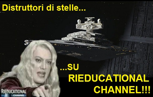 Gag di Guzzanti nei panni della presentatrice Fulvia che dice: distruttori di stelle, su rieducational channel.