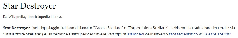 Star Destroyer descritto su Wikipedia come Distruttore stellare