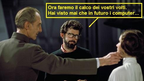 Peter Cushing, George Lucas e Carrie Fisher sul set di Guerre Stellari 1977. Una vignetta fa dire a Lucas: ora faremo il calco dei vostri volti, ai visto mai che in futuro i computer...