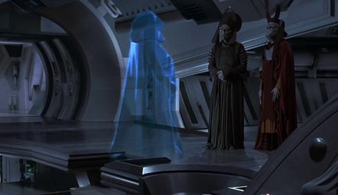 Ologramma di Palpatine che impartisce ordini