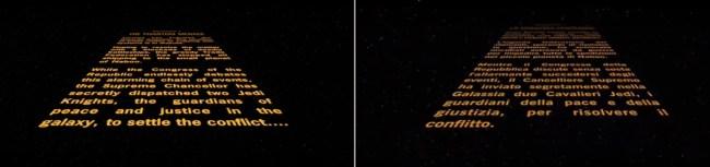 Titoli di inizio di Star Wars episodio 1 la minaccia fantasma a confronto, inglese versus italiano