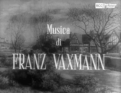 Fotogramma dei titoli di testa in italiano del film Il sospetto, leggono Musica di FRANZ VAXMANN