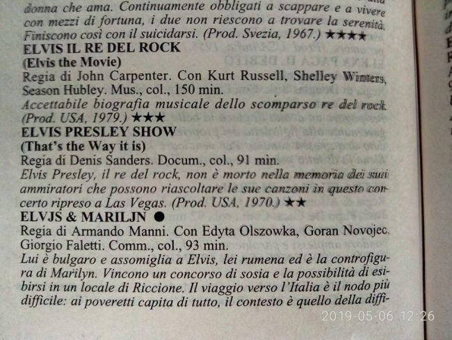 Elvis il re del rock sul dizionario di film Farinotti del 2001