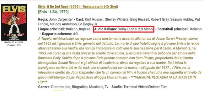annuncio Terminal Video Sinister Film su Elvis il re del rock in DVD con doppiaggio italiano
