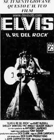 Ritaglio di giornale dell'uscita cinematografica di Elvis il re del rock, di John Carpenter con Kurt Russell
