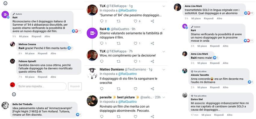 commenti sui social del canale Rai4 dopo la trasmissione di Summer of '84 doppiata in italiano