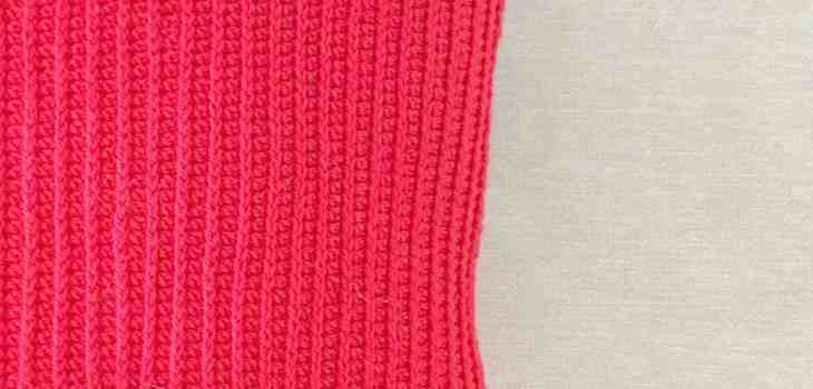 crochet cushion red and geometric zig zags