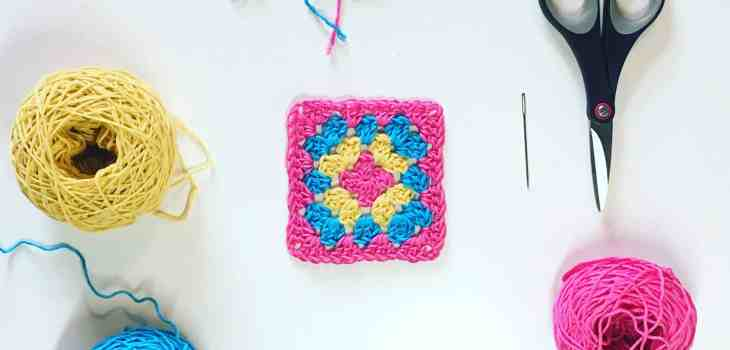 Crochet granny square and cotton yarn