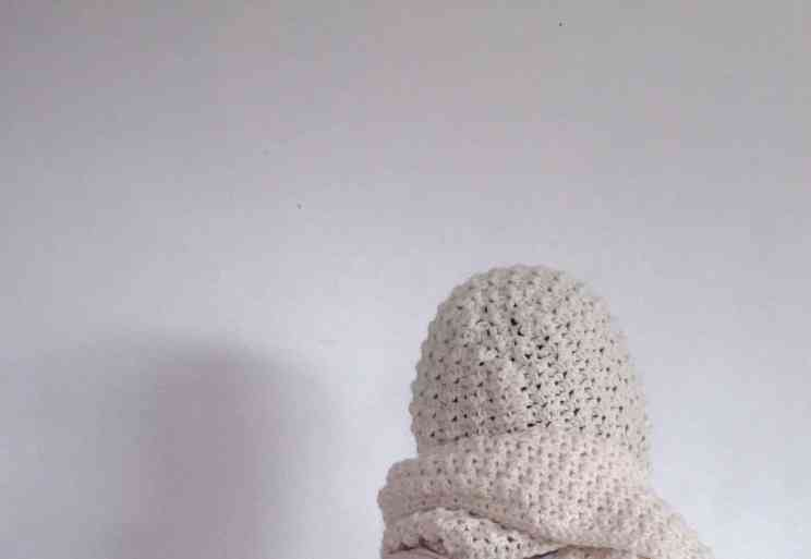 pattern crochet scoodie round hood long scarf