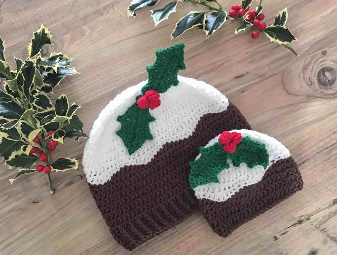 Crochet Christmas Pudding hats with holly berries