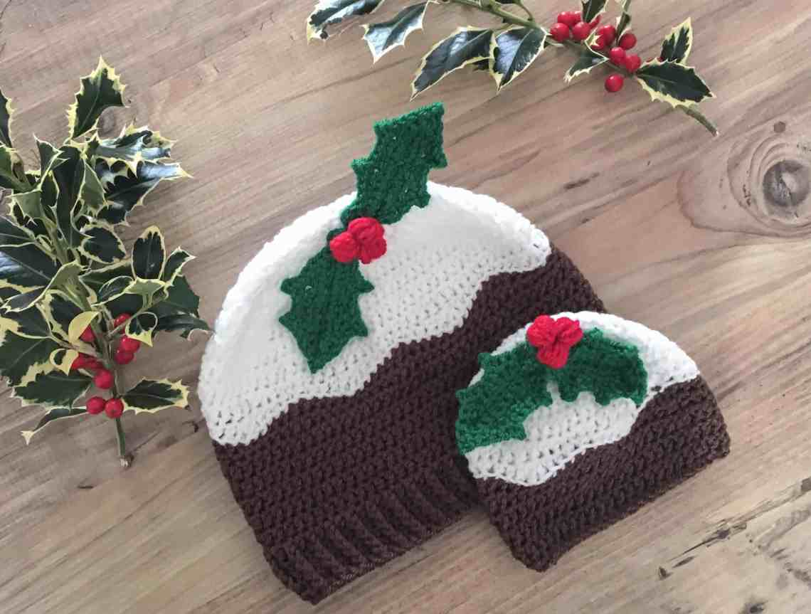 Crochet christmas pudding hat with holly berries adult and baby sizes