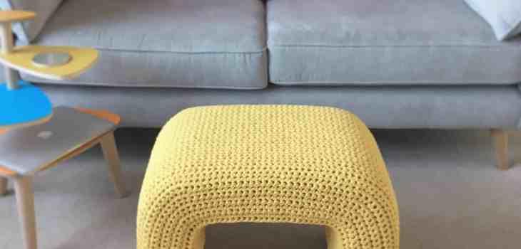 up cycled footstool using crochet mustard yarn