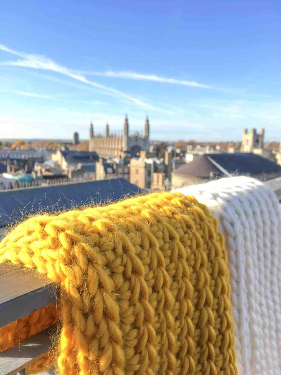 crochet infinity scarf merino mustard and cream