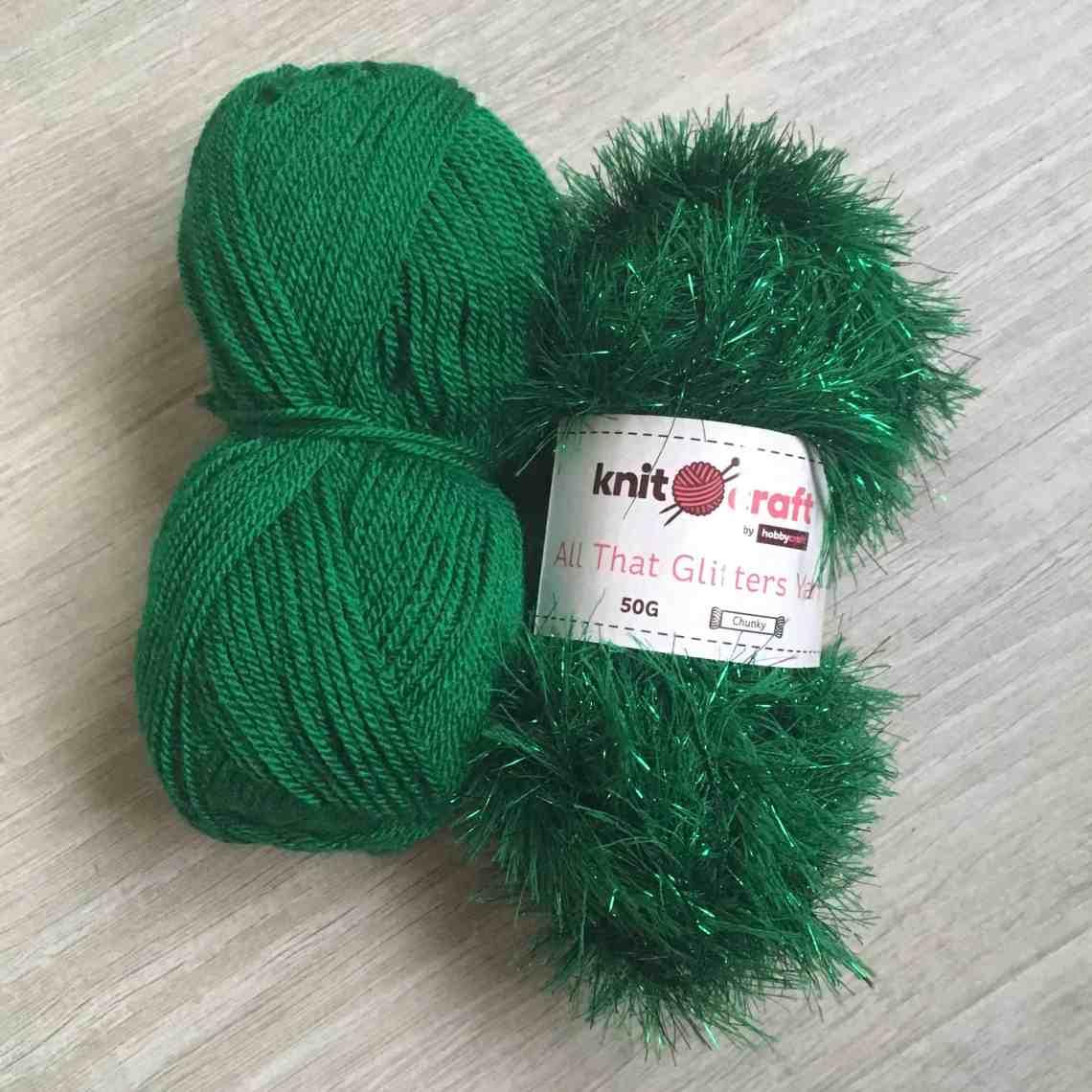 green tinsel yarn