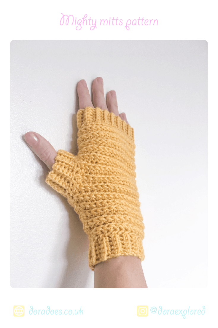 simple crochet ribbed fingerless gloves from Dora Does