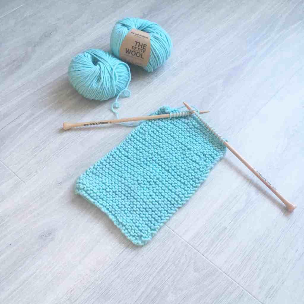 beginners knitted scarf in progress