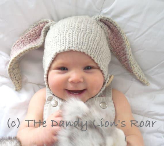 crochet bunny baby hat