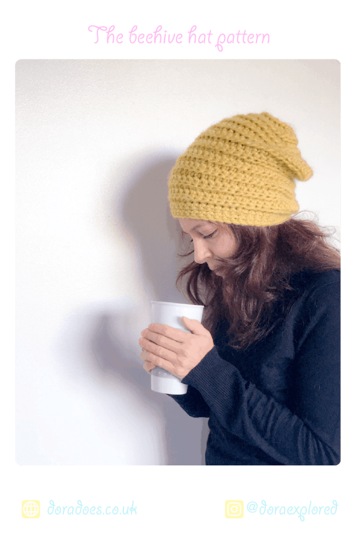 Crochet Beehive beanie hat-easy pattern for beginners