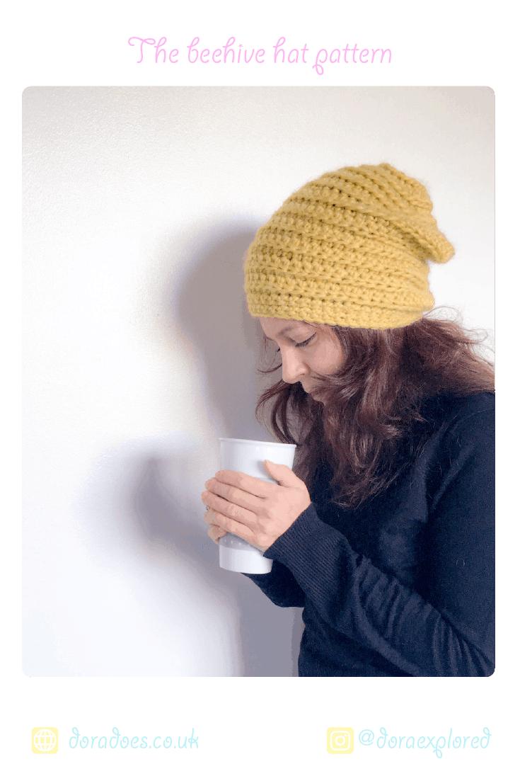 Crochet Beehive beanie hat-easy pattern for beginners