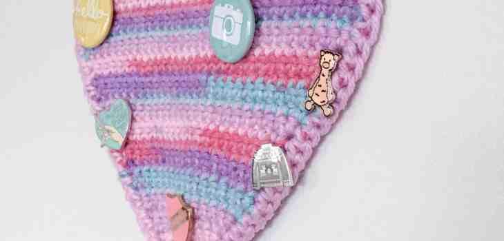 crochet enamel pin pennant with pom pom