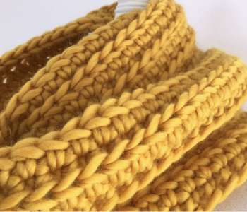 merino mustard crochet infinity scarf