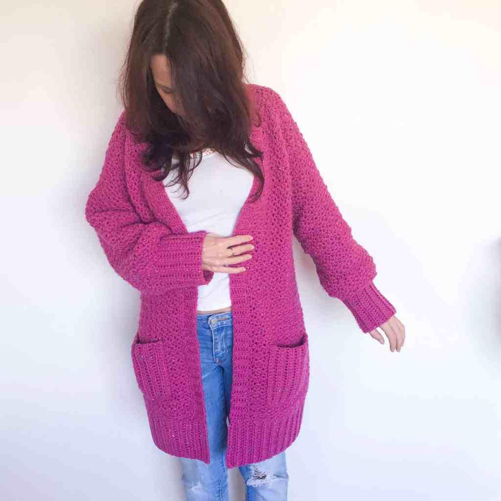 Pink crochet chunky cardigan
