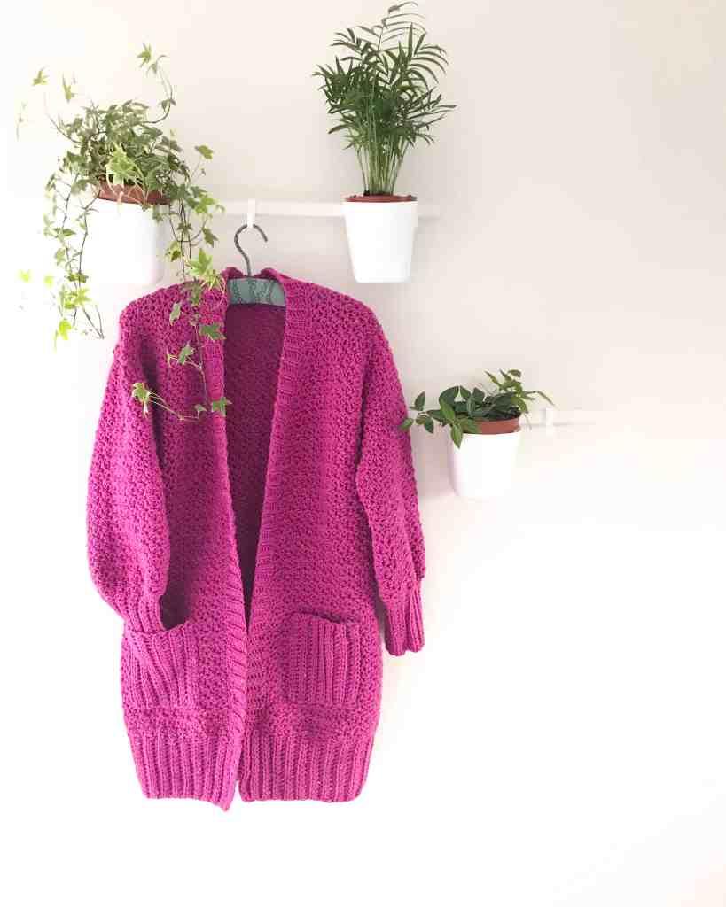Everyday hugs crochet cardigan hanging with houseplants