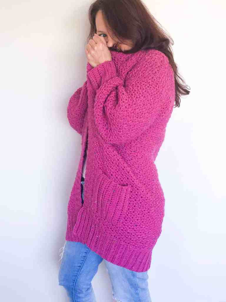 Pink Cosy Crochet Cardigan with pockets