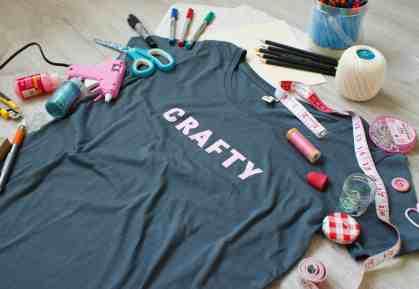 Crafty tee pink on grey craft supplies
