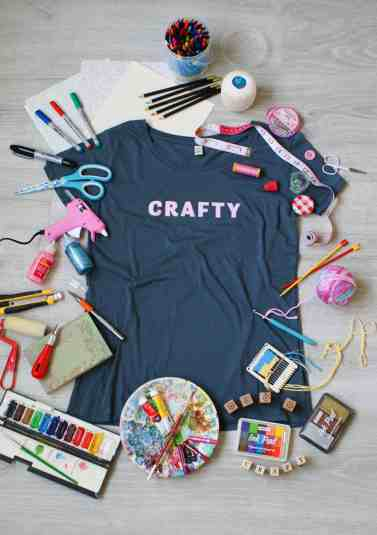 Crafty tee pink on grey craft supplies