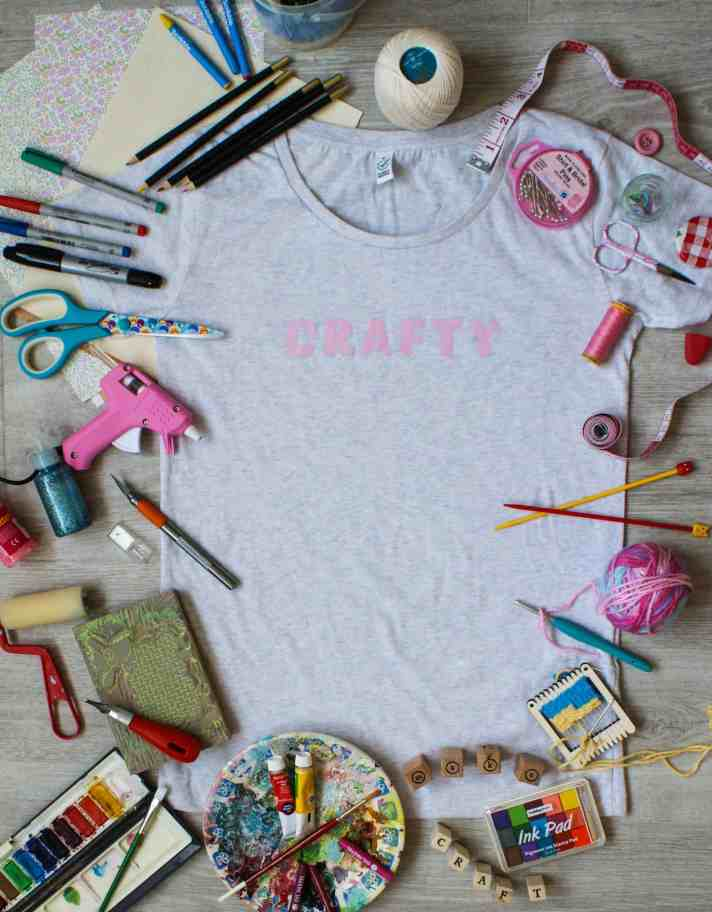 Crafty t-shirt with craft goodies
